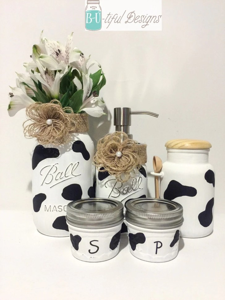 Cow Print Kitchen Decor Mason Jars Flower Vase Soap Dispenser