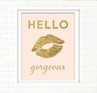 Blush Pink and Gold Wall Art Print Gold Lips Gold Foil