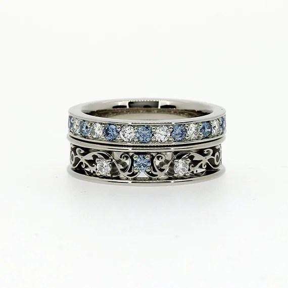 engagement ring set Filigree ring Aquamarine diamond