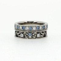 engagement ring set Filigree ring Aquamarine diamond