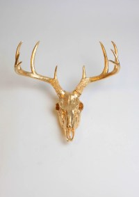 Gold Animal Skull Wall Decor by White Faux Taxidermy Faux