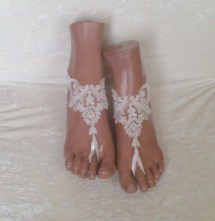 Free Ship Ivory Wedding Barefoot Sandles Prom Party