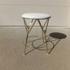 Vintage Vanity Chair Black White Dining Stool Hollywood Regencyvanity Gold