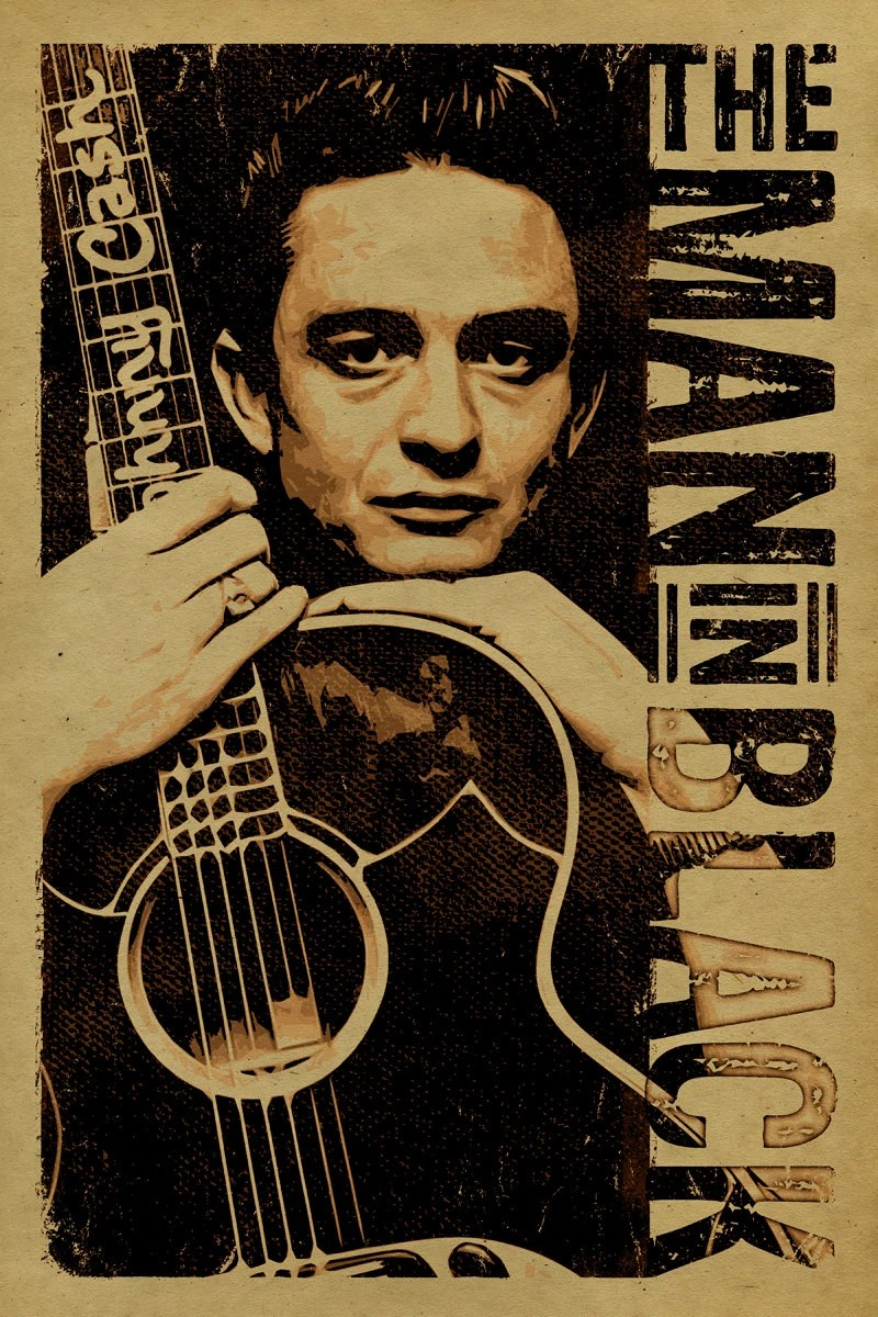 Johnny Cash Poster 12x18 Country Music Kraft Paper