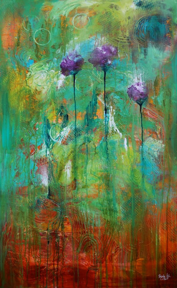 3 Purple Poppies Original Acrylic Painting Abstract