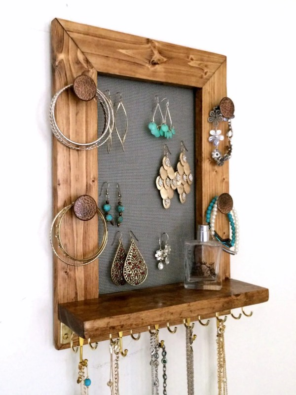 Jewelry Organizer Wooden Wall Hanging