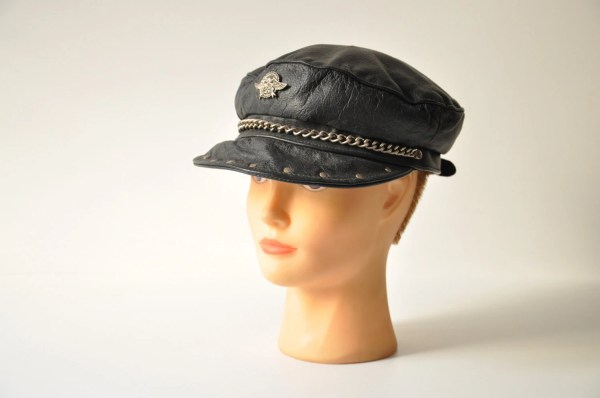 Vintage Harley Davidson Biker Leather Cap Black Hat