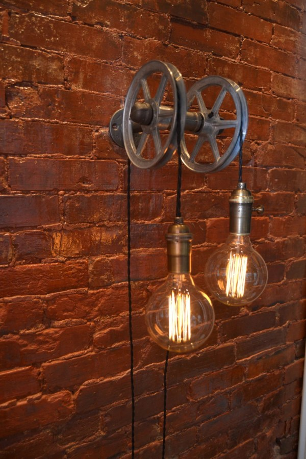 Hanging Light Pulley Wall Industrial