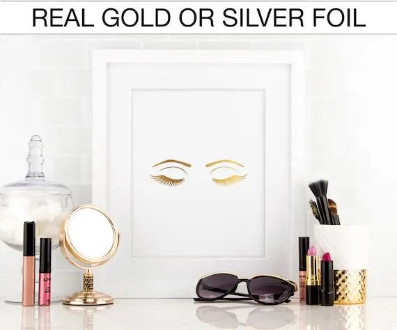 Eyelashes eyes makeup Gold foil print Real by