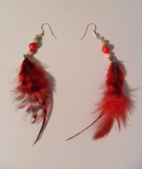 Red Feather Earrings by HibberdsHandcrafts on Etsy