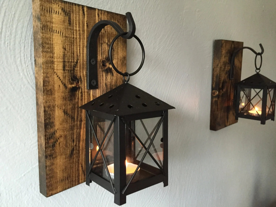 Rustic Candle Lantern Sconces