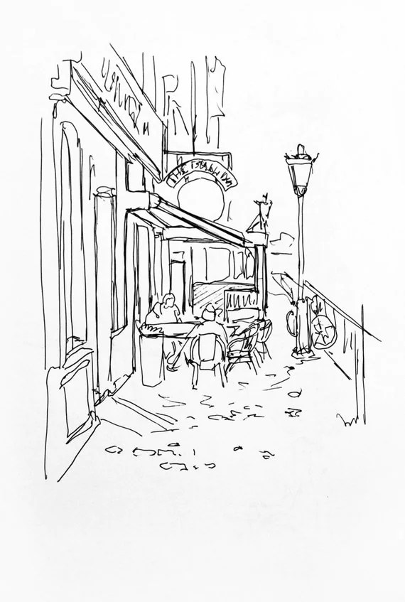 Items similar to Adult coloring page Cafe Paris, sityscape