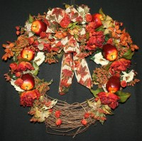 Rust Roses and Red Apples Fall Wreath Thanksgiving Wreath