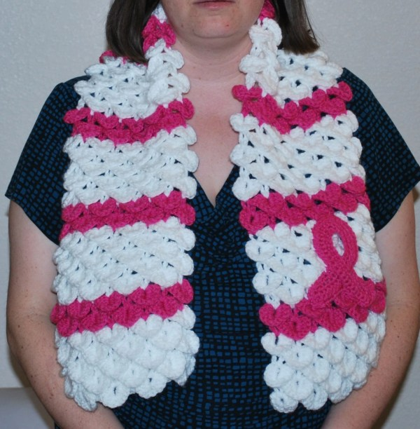 Breast Cancer Awareness Scarf With Pink Ribbon