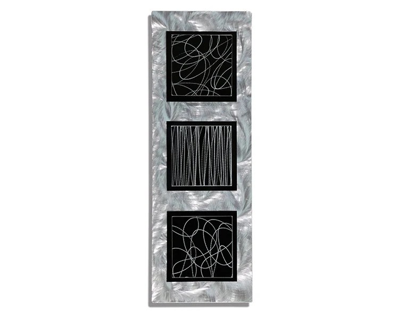 Silver Modern Metal Wall Art Black Etched By JonAllenMetalArt