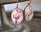Vintage Cherry White Floral Swirl Glass Earrings - Vintage Assemblage