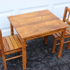 Wood Kids Table And Chairs Neutral Posture Chair Adjustments Vintage Wooden Small Childrens