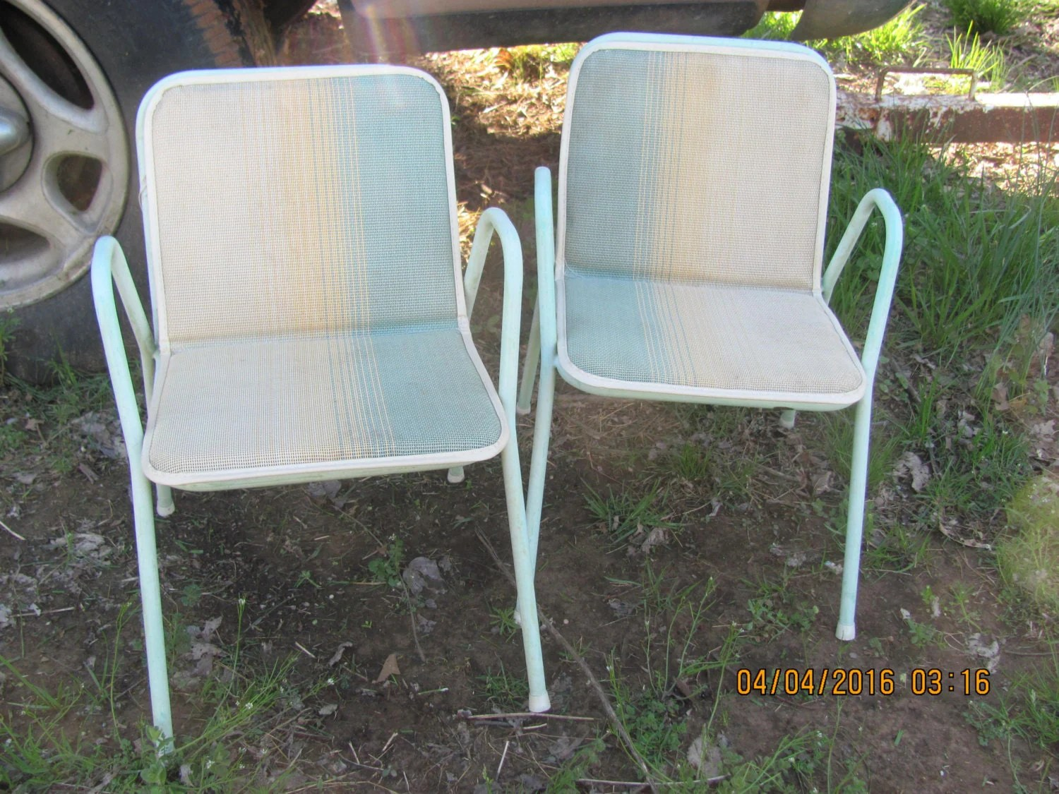 Mid Century Outdoor Chairs 2 Vtg Mid Century Child Large Doll Outdoor Kids Metal