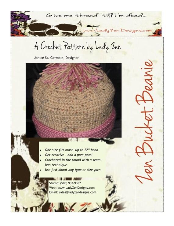 Crochet Pattern - Pom Pom Bucket Beanie