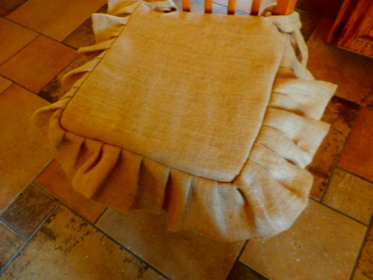 Burlap Chair Cushions Rusticpleated And Tucked Burlap Chair Seat Cover Includes