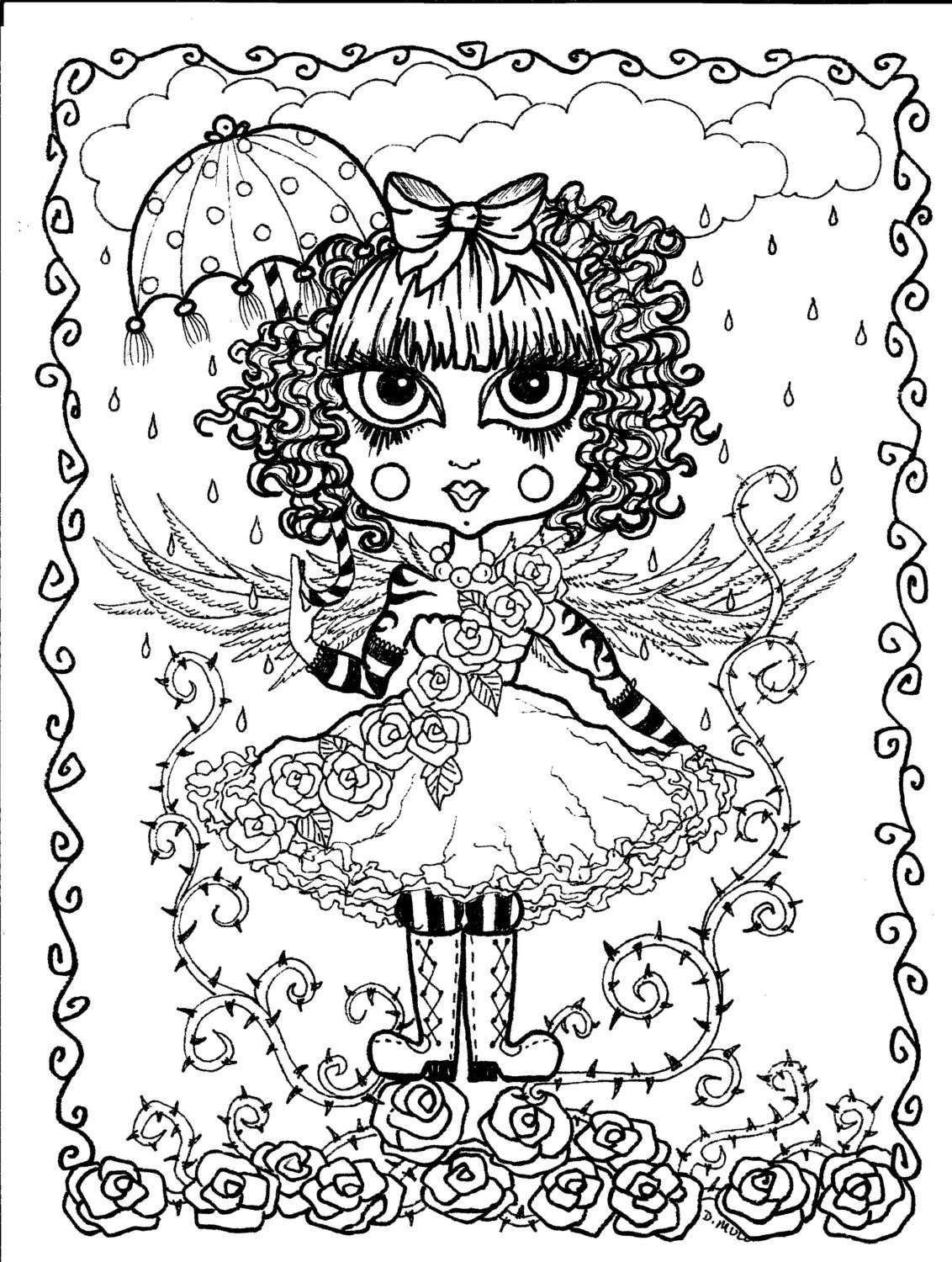 Instant Download 5 Coloring pages Gothic Angels by