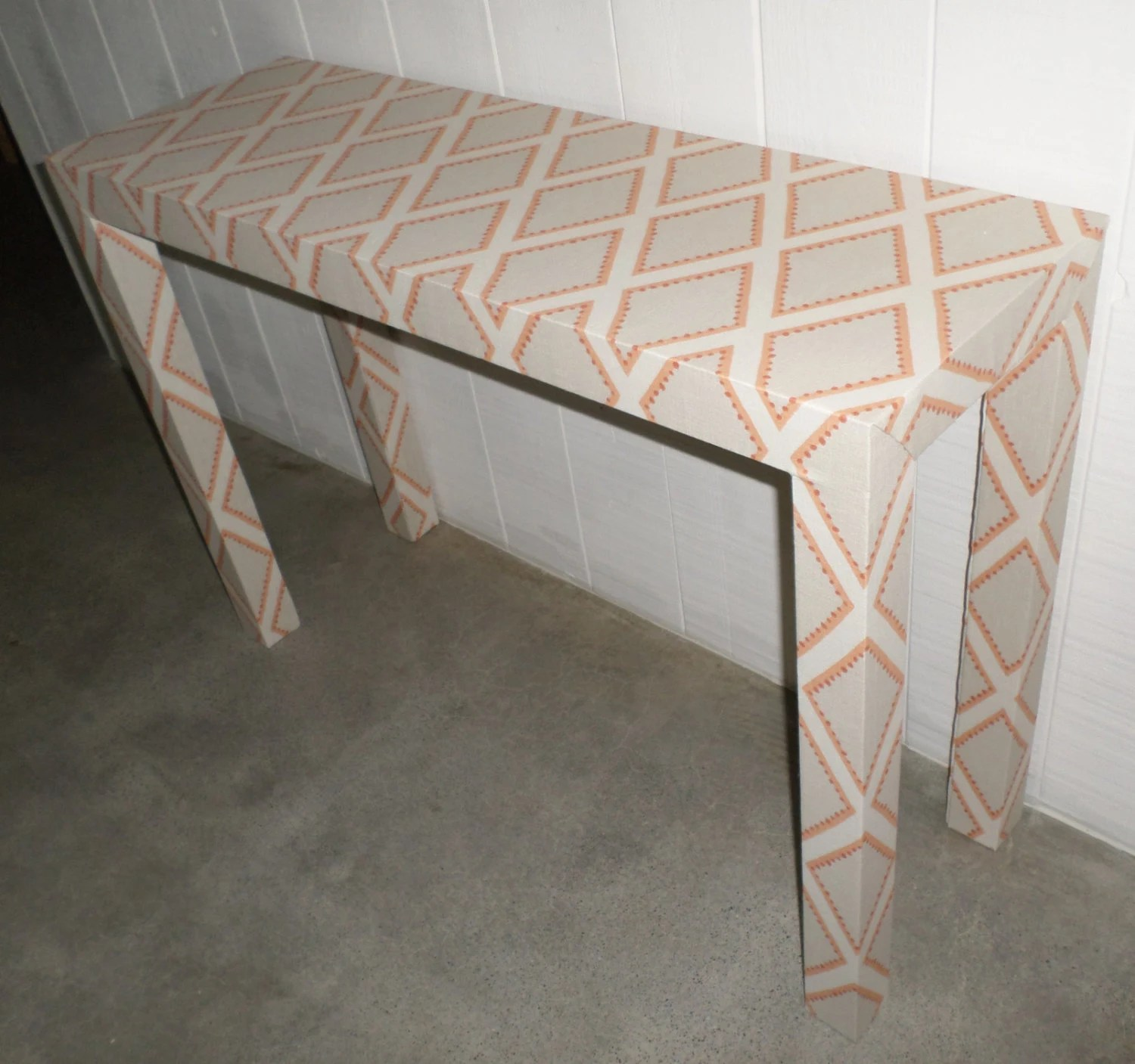 making your own sofa table dfs grey material sofas upholstered console custom built design in