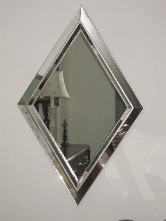 Large Vintage Modern Diamond Shaped Mirror Geometric