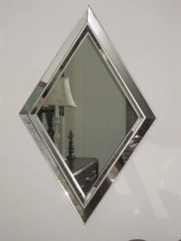 Large Vintage Modern Diamond Shaped Mirror Geometric