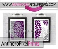 Floral Plum Purple Grey Black Bathroom Wall Art Picture