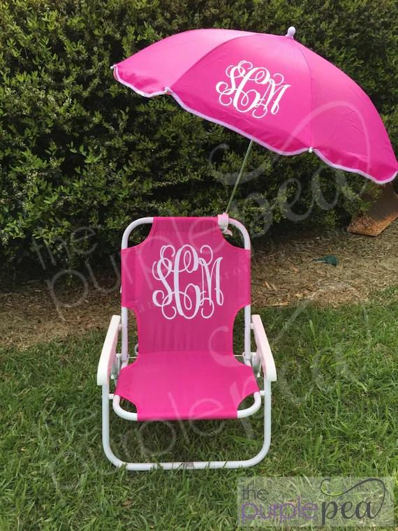 Monogrammed Kids Beach Chair w umbrella