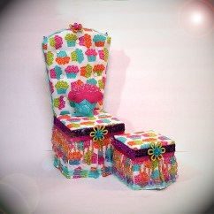 Monster High Bean Bag Chair Wedding Covers Blackpool Sale Ooak Cupcake 18 Doll And Ottoman Set