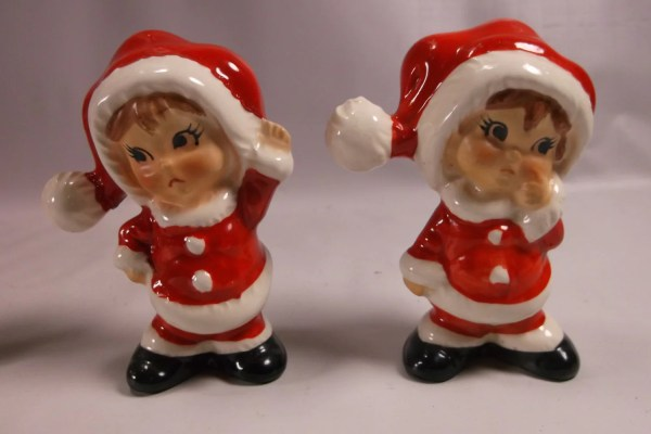 Christmas Girls Figurines 50 Lefton Santa Set Rare