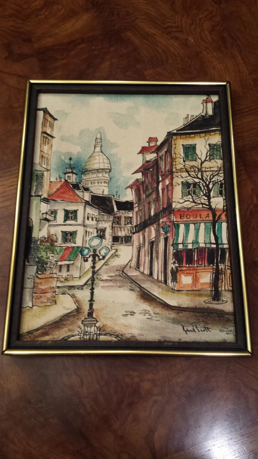 paris side chair lazyboy lift 1950s robert scott signed painting
