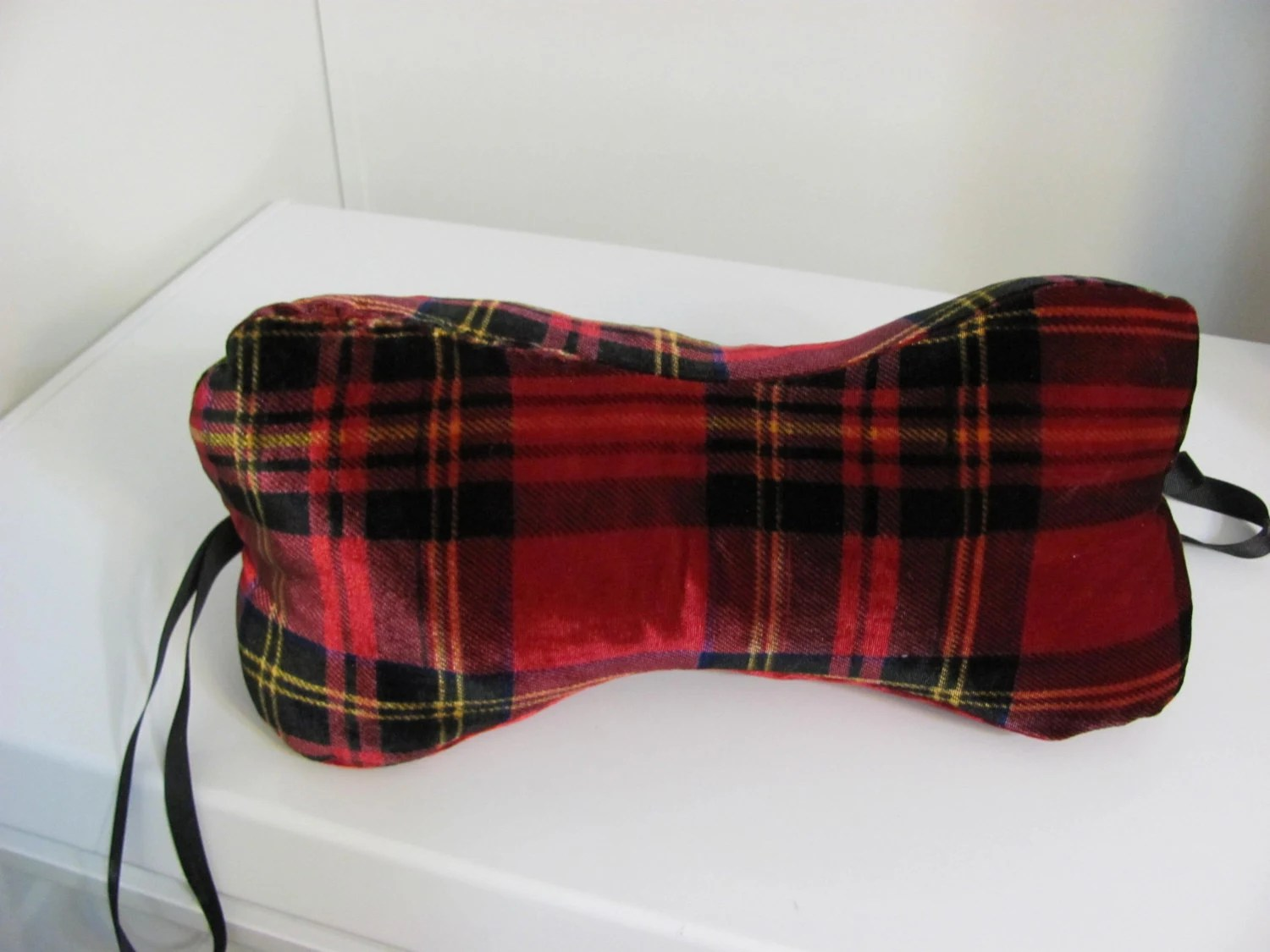 neck pillow bone shaped red plaid w red by OnyxHillGifts on Etsy