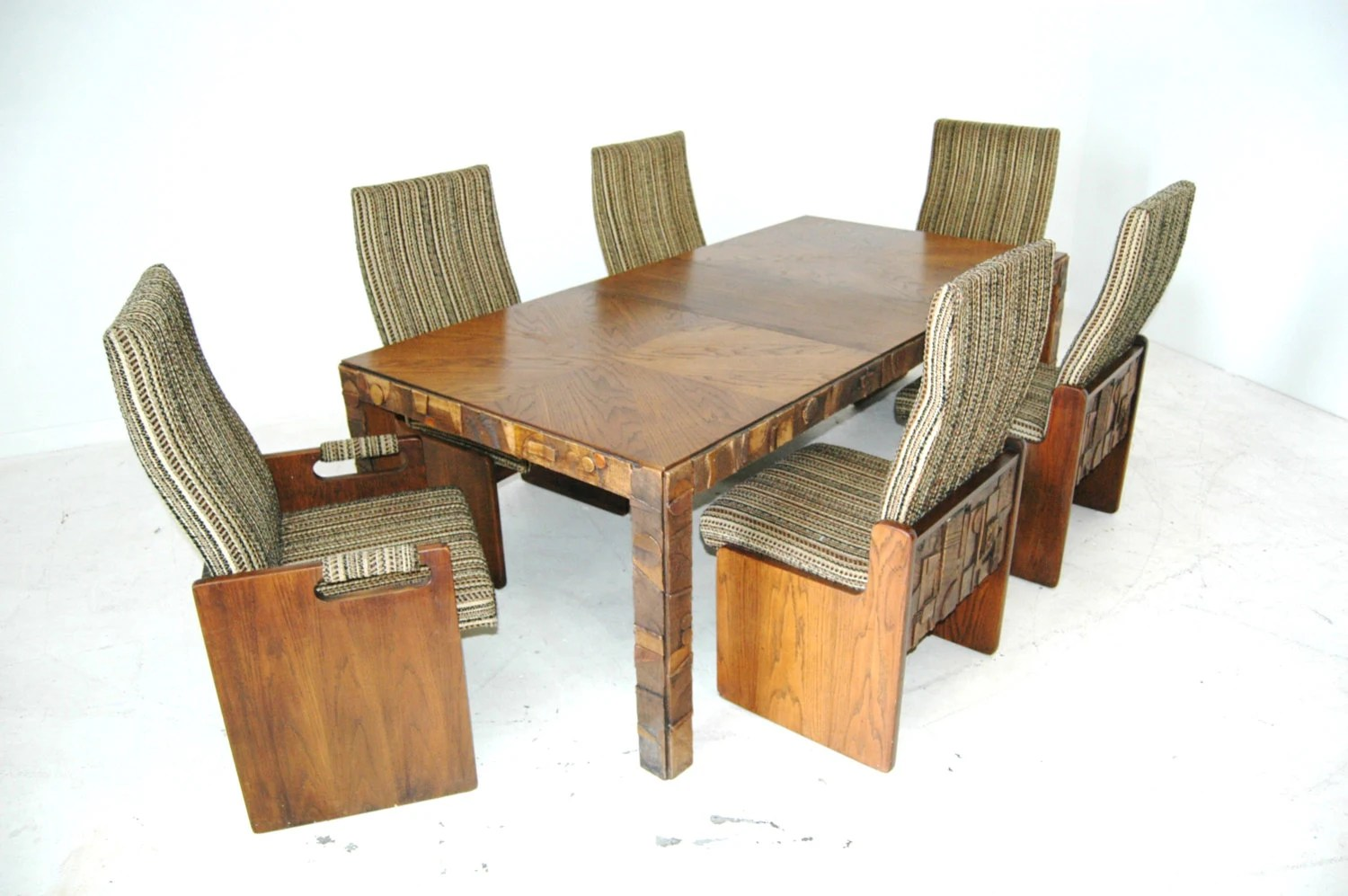 Brutalist Mid Century Dining Table And Chairs In The Style