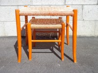 Set of 2 MCM Woven Nesting Tables Stools Mid Century ...