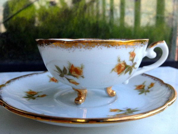 Tea Cup & Saucer Vintage Cherry China Japanese Three Footed