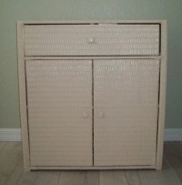 Wicker Wood Linen Cabinet Server Linen Storage by ...