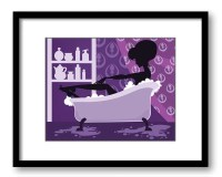 Purple Bathroom Decor Bathroom Print Silhouette Girl Bathtub