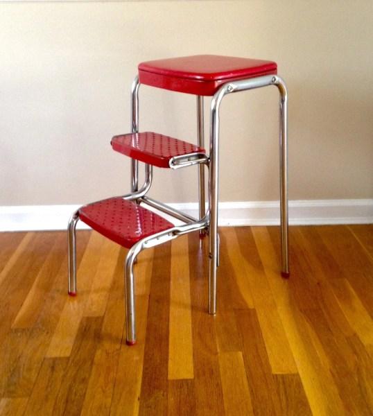 red kitchen stools Vintage Red Kitchen Step Stool