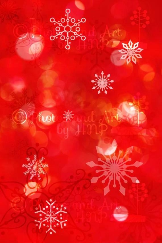 Red Bokeh Snowflake Scrapbook Paper Digital Background