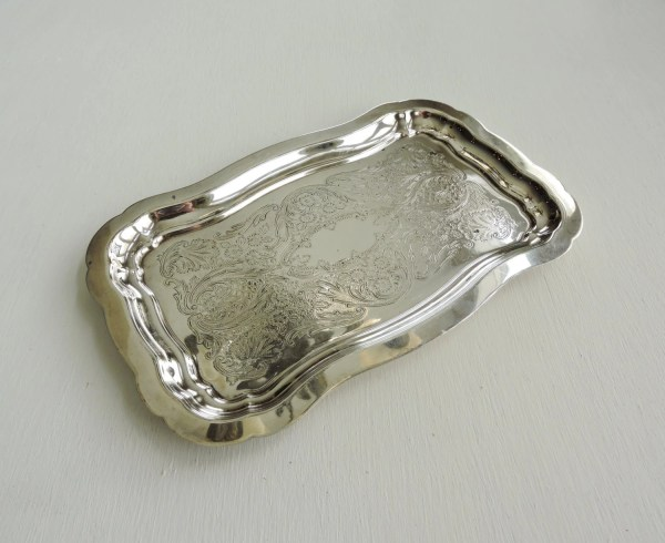 Vintage Silver Tray Engraved Serving Small Plate