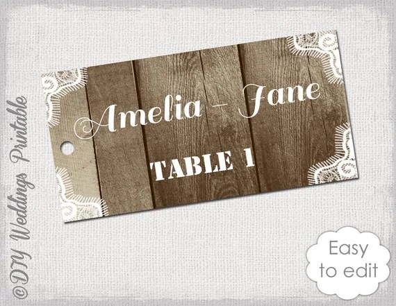 Rustic Favor Tag Template Wood Amp Lace Place Cards