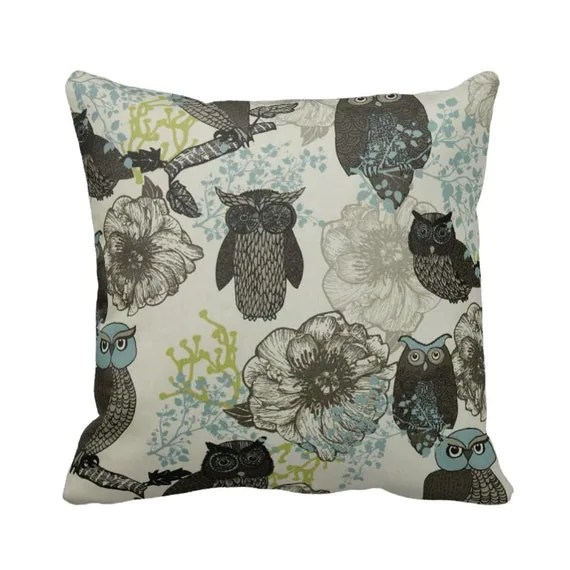 Zippered Hoot Owl Throw Pillow Case Black Blue Citrine Grey