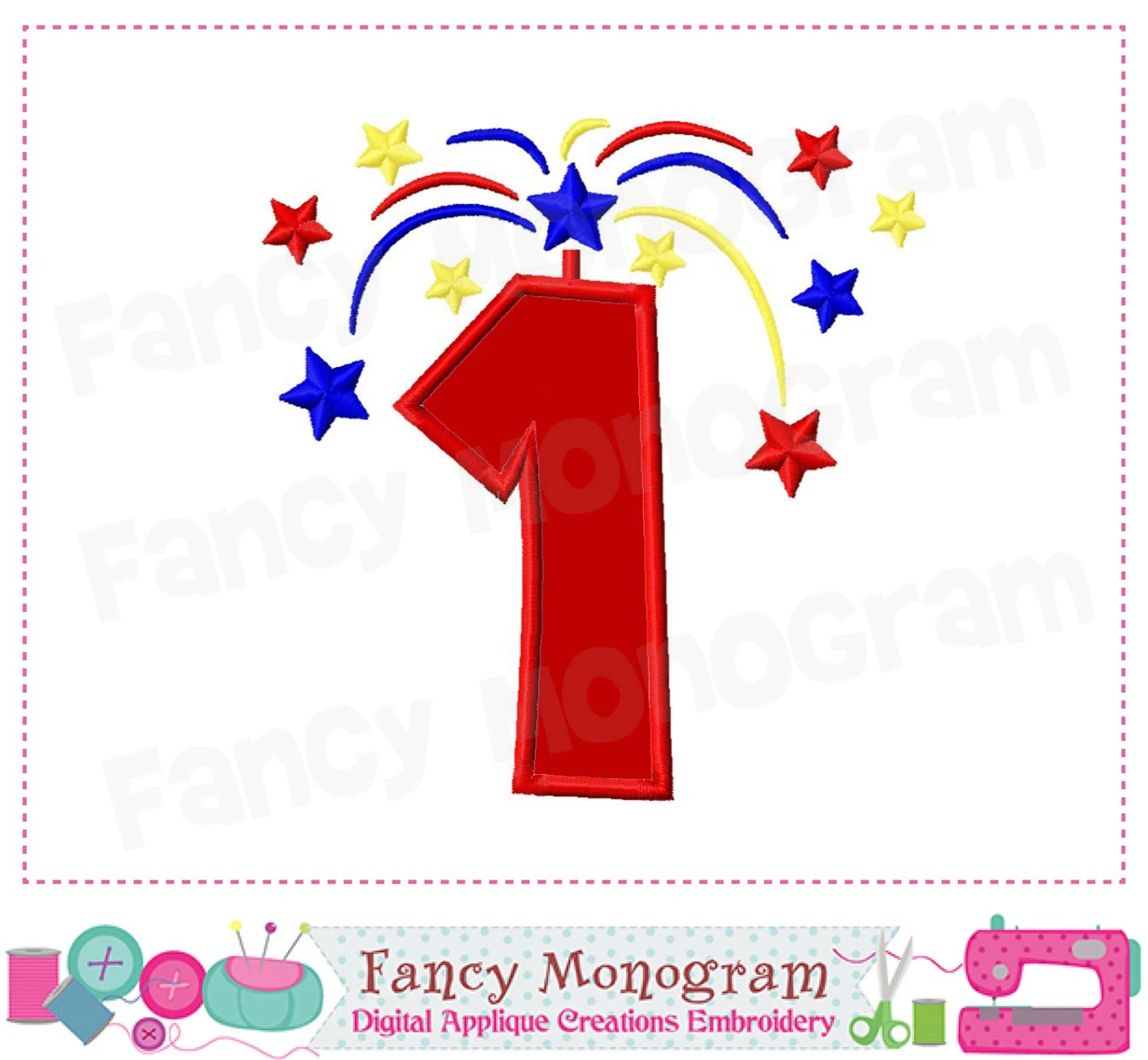 July 4th Number 1 Appliqueindependence Day Number 1