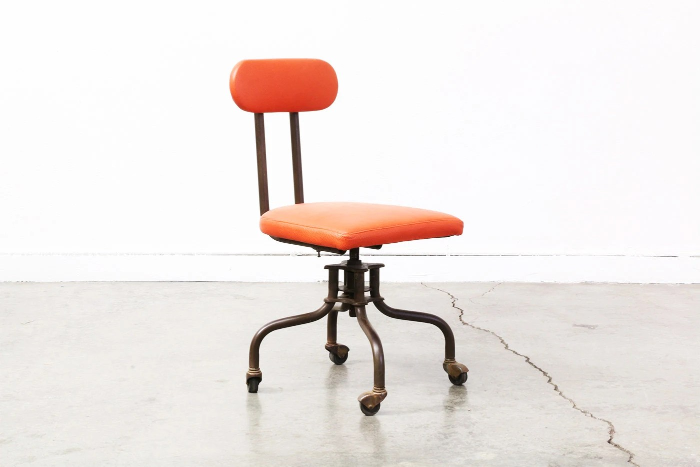 Industrial Office Chair Vintage Industrial Metal And Leather Office Chair By