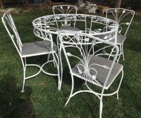 Vintage wrought iron white garden patio table 4 chairs ivy