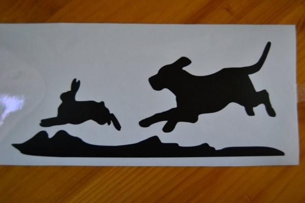 Hunting Dog Chasing Rabbit Decal