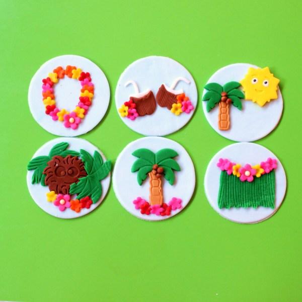 Luau Birthday Cupcake Toppers 12pcs 2.5 Edible