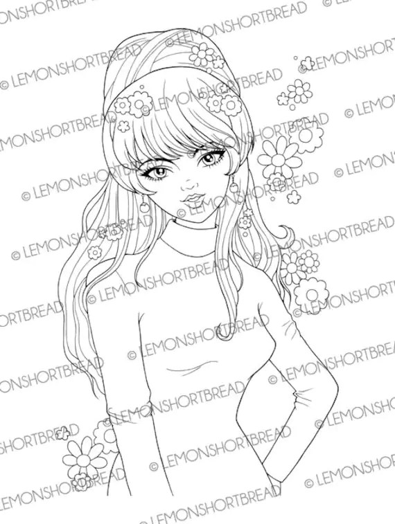 Digital Stamp 60s Rock and Roll Girl Digi Download Retro Mod